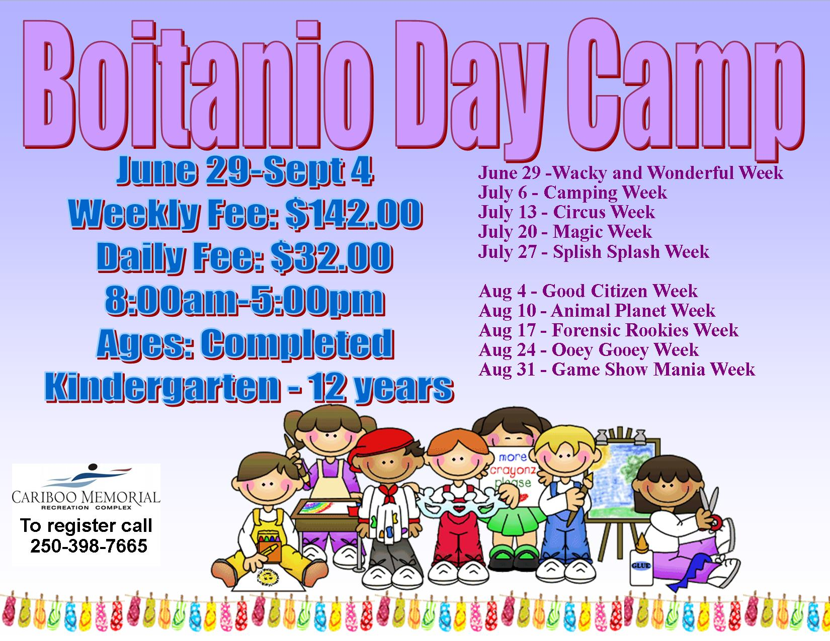 Boitanio Day Camp Schedule Poster