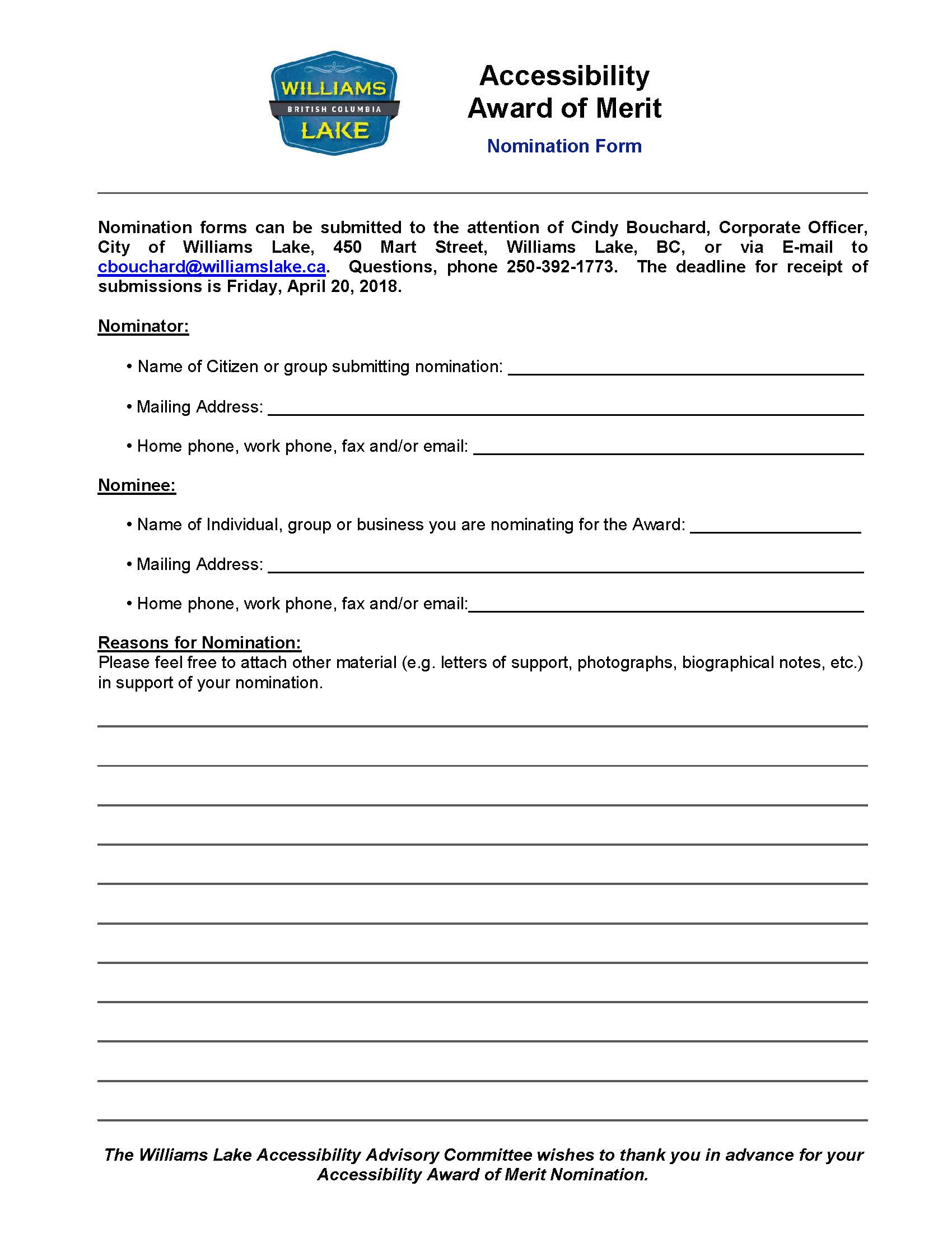 Accessibility Award Nomination Form 2017
