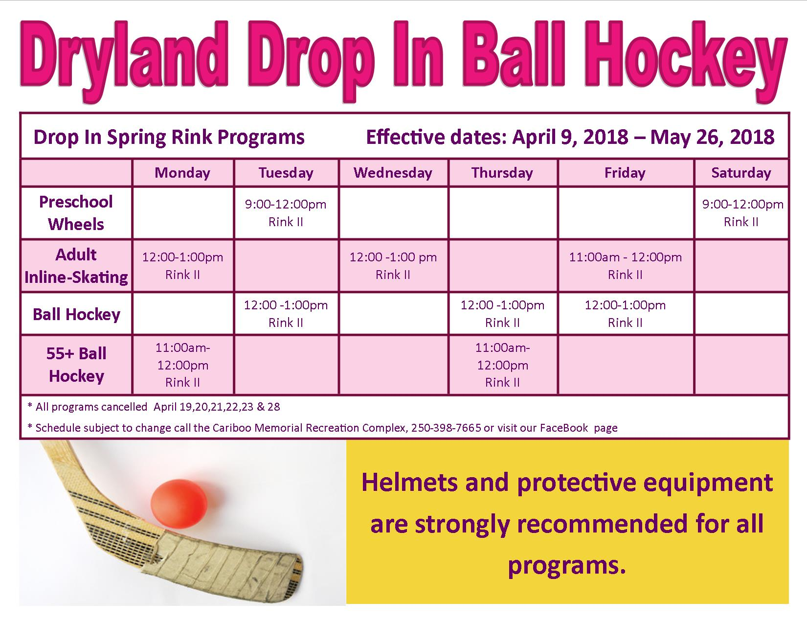 dryland drop in ball hockey