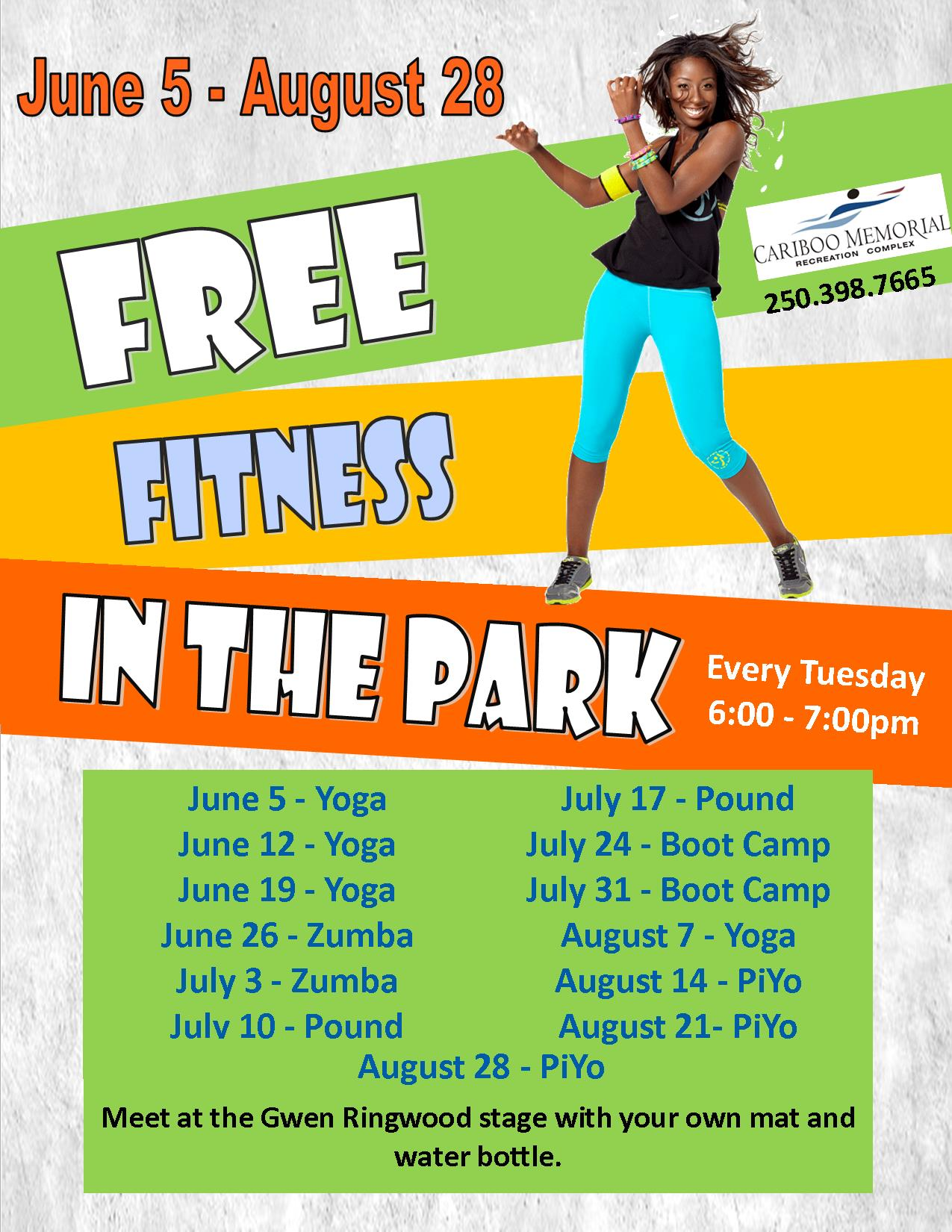free fitness in the park 2018