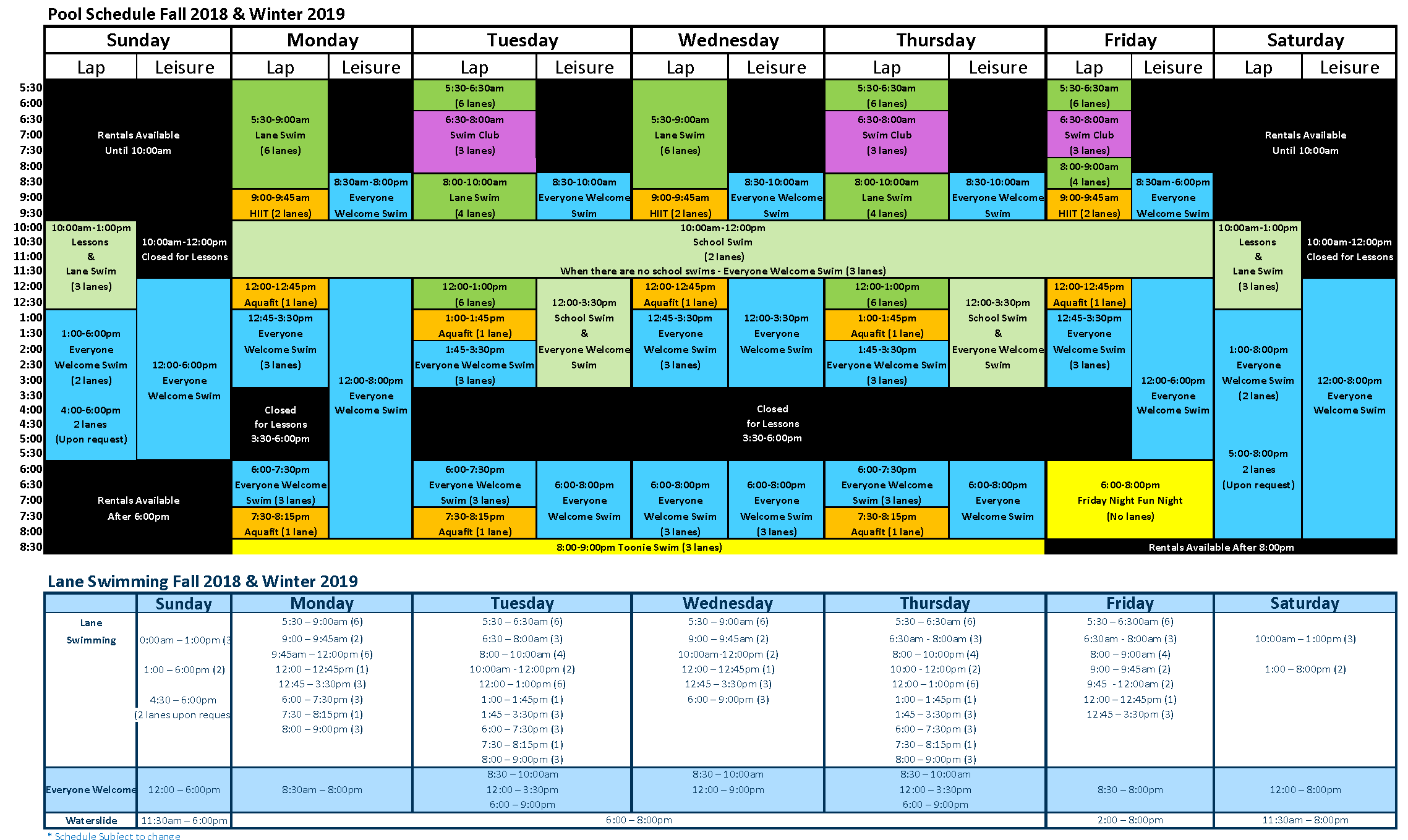 pool schedule fall winter 2019 double