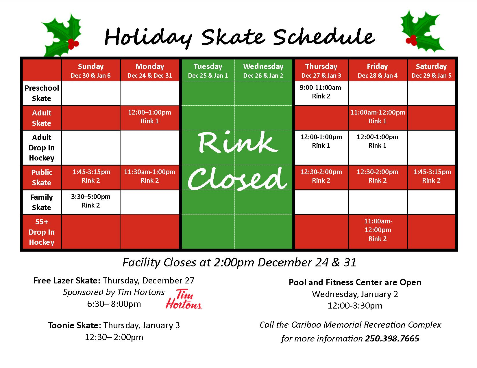 Holiday Skate Schedule 2018docx