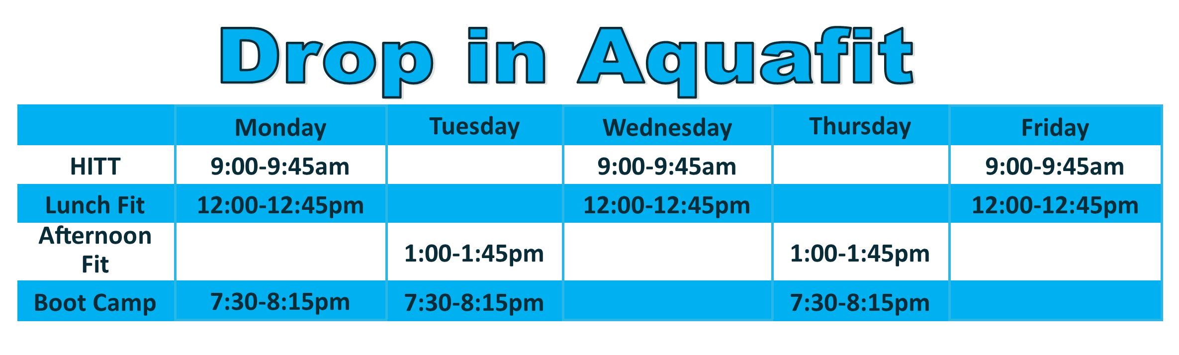 drop in aquafit 2019 2020